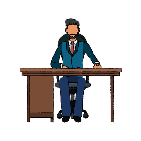 man made: business man sitting desk working vector illustration