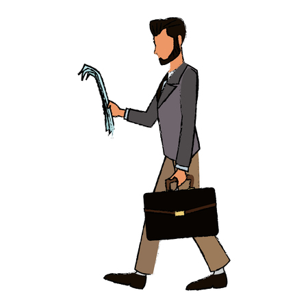 asian business: character business man with suit walk with paper vector illustration Illustration