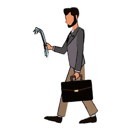 estereotipo: hombre de negocios carácter con traje caminar con ilustración de vector de papel