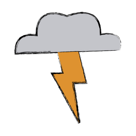 pen and marker: Lightning Thunder Cloud In Cartoon Free Style Hand Drawn Illustration Vector Isolated