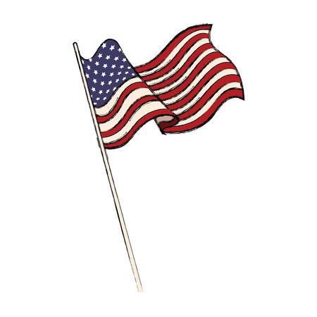 미국 국기를 흔들며 엠 블 럼 벡터 일러스트 레이 션의 미국