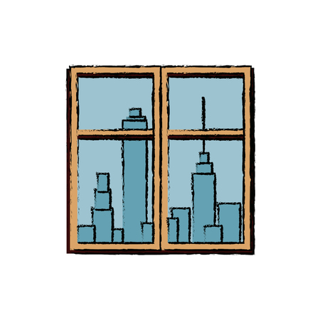framed: window cityscape window framed urban buildings view vector illustration