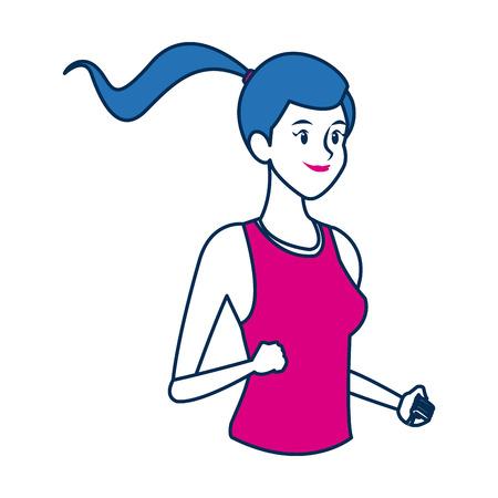 heaviness: sport woman character people fitness vector illustration Illustration