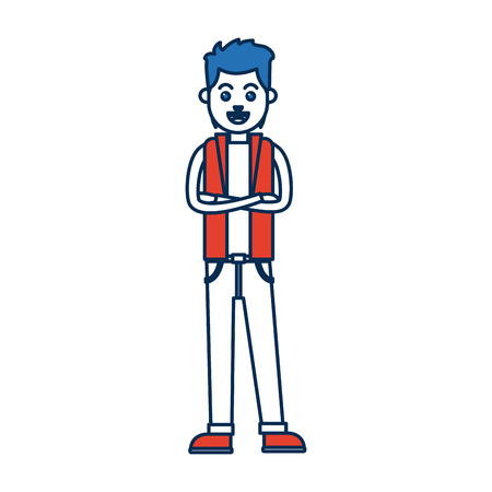 crossed arms: man character standing with folded arms vector illustration