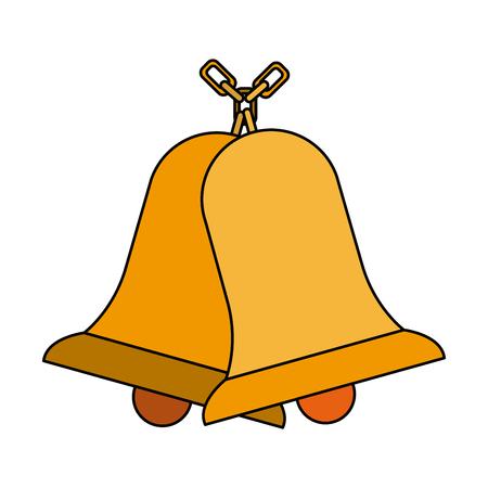 school bells chain hang alarm icon vector illustration Illustration