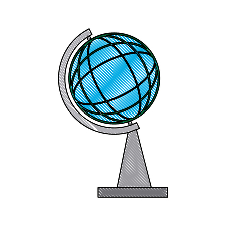 school globe map atlas learning geography vector illustration
