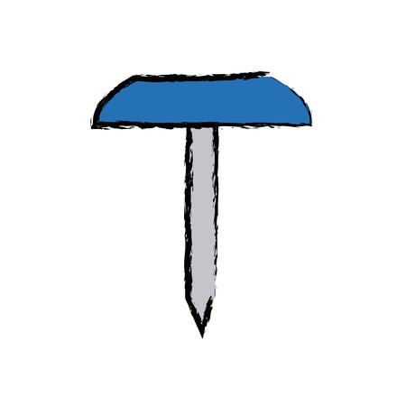 school push pin thumbtack side view vector illustration
