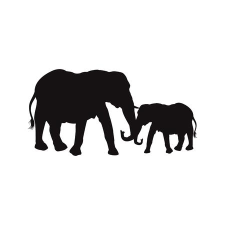엄마와 아기 코끼리 가족 동물 야생 동물 벡터 일러스트 레이션 일러스트