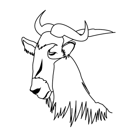wildebeest head african wildlife animal vector illustration
