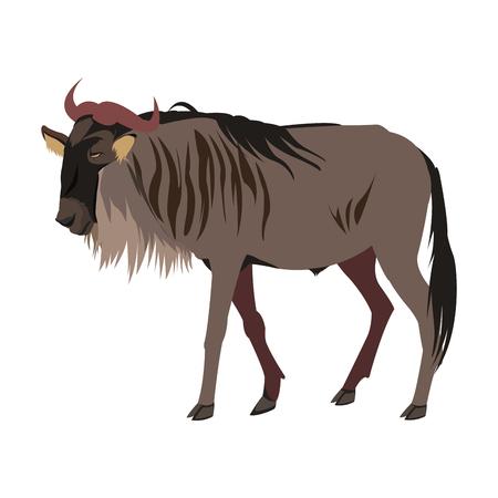 wildebeest de pie africano animal de la fauna ilustración vectorial