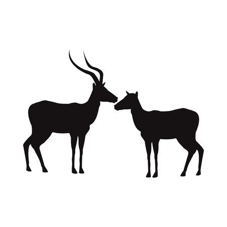 silhouet paar van een staande impala Afrika zoogdier wilde vectorillustratie