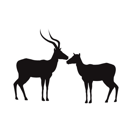 silhouette pair of a standing impala africa mammal wild vector illustration
