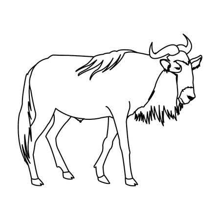 wildebeest staande Afrikaanse dieren dieren vector illustratie