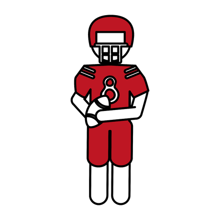 Flat line american football player with hint of color over white background
