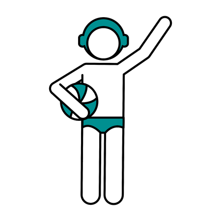 Flat line waterpolo player with hint of color over white background