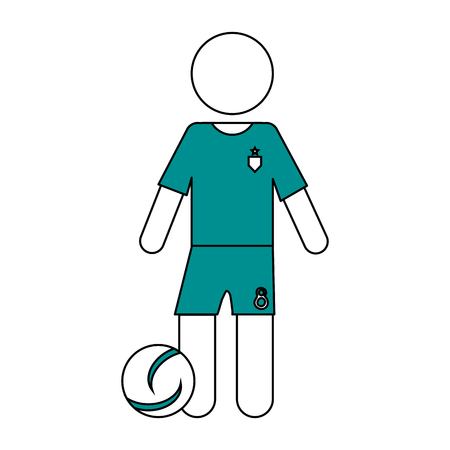 Flat line soccer player with hint of color over white background