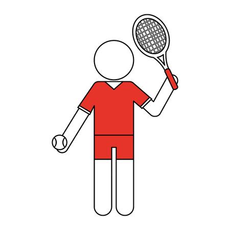 deportes caricatura: Jugador de tenis de línea plana con toque de color sobre fondo blanco