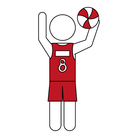 Flat line volleyball player with hint of color over white background