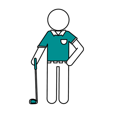 Flat line golf player with hint of color over white background Ilustração