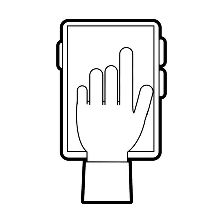 responsive: Flat line uncolored hand and smartphone over white background vector illustration Illustration