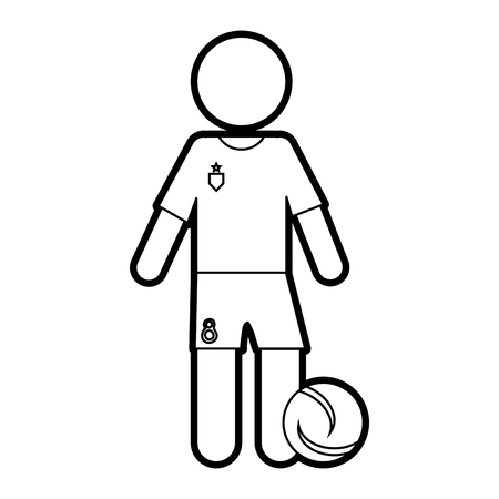 Flat line uncolored soccer player over white background vector illustration