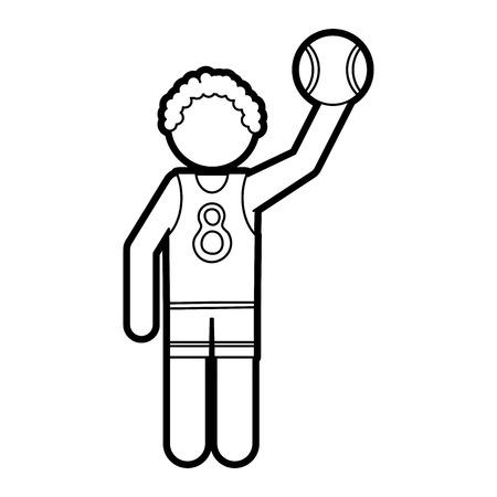 Línea plana incoloro jugador de baloncesto sobre fondo blanco ilustración vectorial Foto de archivo - 81852217