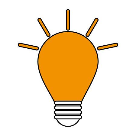 led: Flat line light bulb over white background vector illustration
