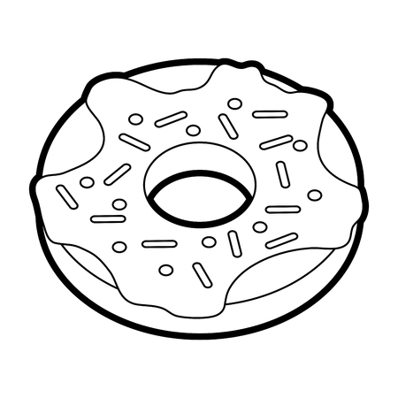 Flat line uncolored donut over white background vector illustration