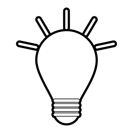 led: Flat line uncolored light bulb over white background vector illustration