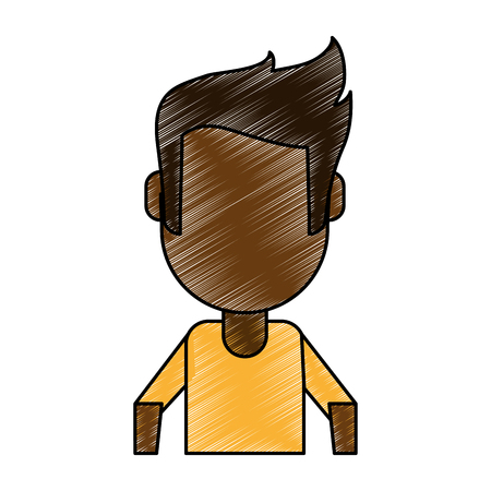 Colorful man avatar doodle over white background vector illustration