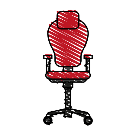 conformity: Colorful desk chair doodle over white background vector illustration