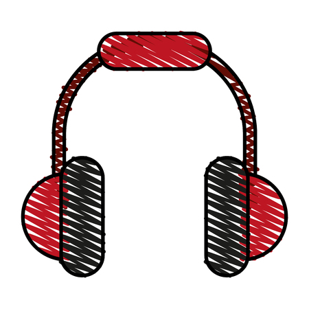 Colorful headphones doodle over white background vector illustration