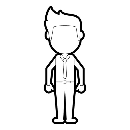 Flat line uncolored standing man over white background