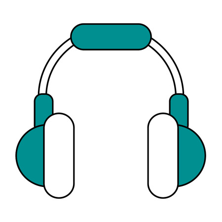 Flat line headphones with a hint of color over white background Illustration