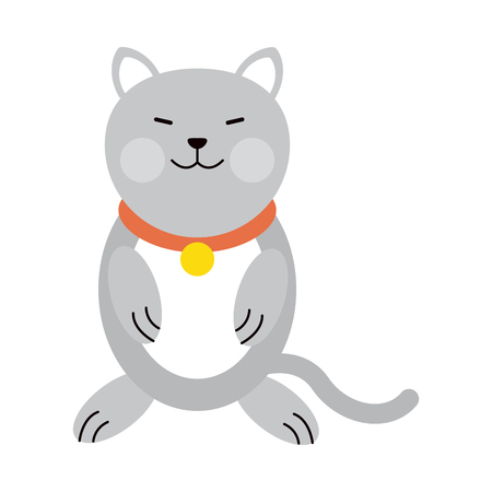 cat cartoon pet animal icon image vector illustration design
