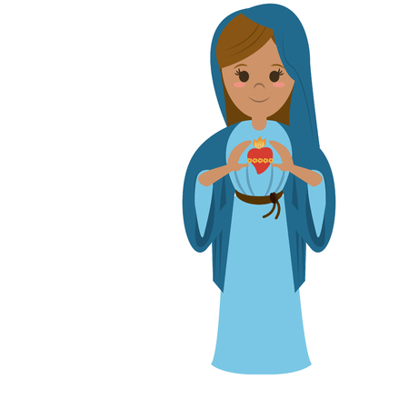 catholicism: virgin mary with sacred heart of jesus holy family icon image vector illustration design