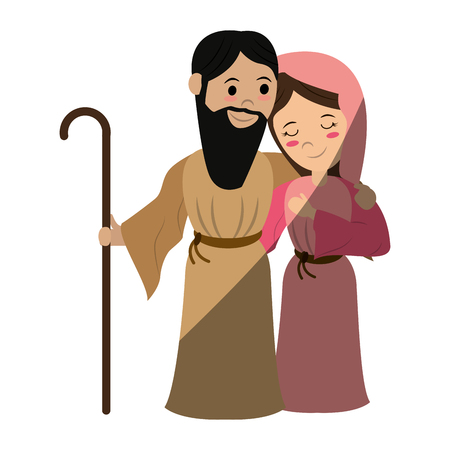mary and joseph holy family icon image vector illustration design