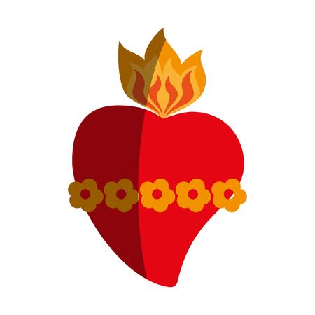 catholicism: sacred heart cartoon icon image vector illustration design