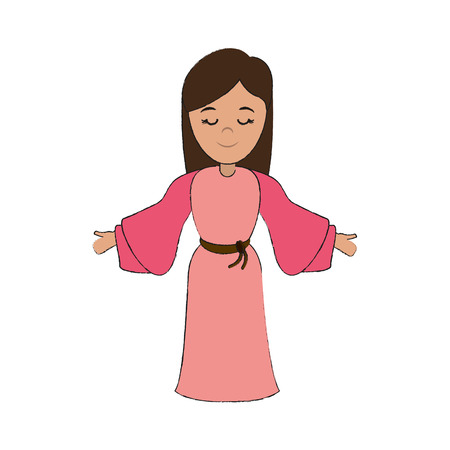Woman wearing tunic cute with open arms and blissful face cartoon icon image vector illustration design