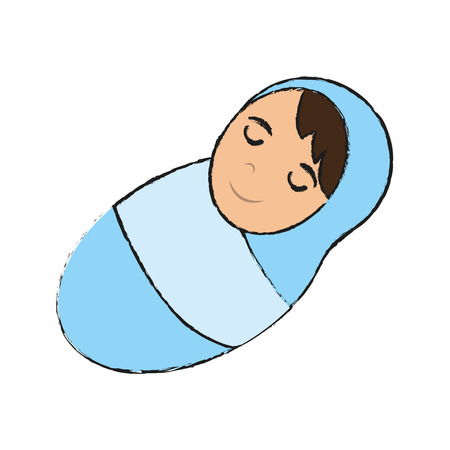 swaddling clothes: swaddled baby icon image vector illustration design