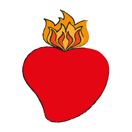 sacred heart cartoon icon image vector illustration design