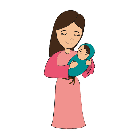 virgin mary carrying baby jesus  holy family icon image vector illustration design