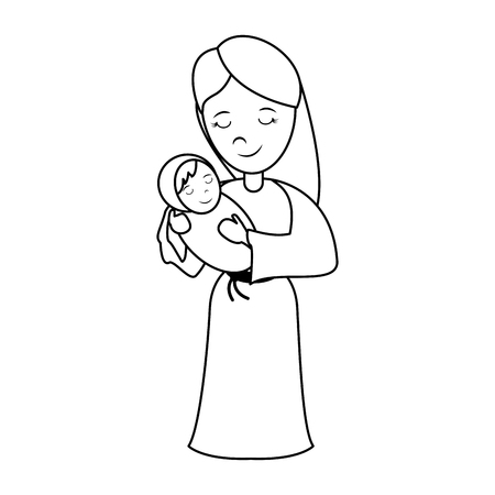 virgin mary carrying baby jesus  holy family icon image vector illustration design  black line