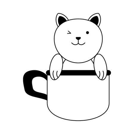 cat inside cup cartoon pet animal icon image vector illustration design  black line 向量圖像