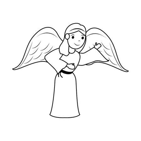 angel cute cartoon icon image vector illustration design  black line