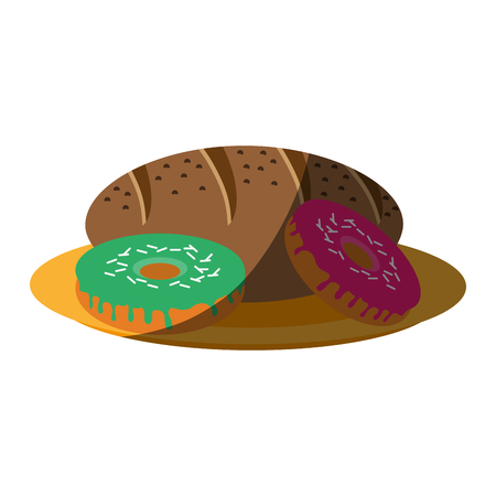 donut and bread loaf pastry icon image vector illustration design Illustration