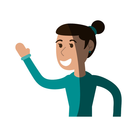 happy smiling woman with hair in ponytail  cartoon icon image vector illustration design