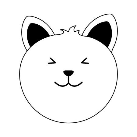 cat cartoon pet animal icon image vector illustration design  black line Illustration