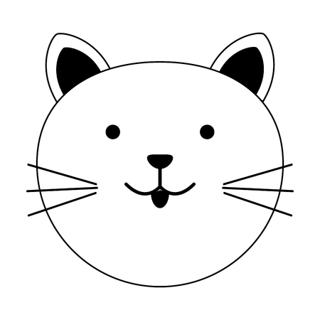cat cartoon pet animal icon image vector illustration design  black line Ilustração
