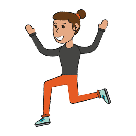 woman doing exercise sport or fitness related icon image vector illustration design